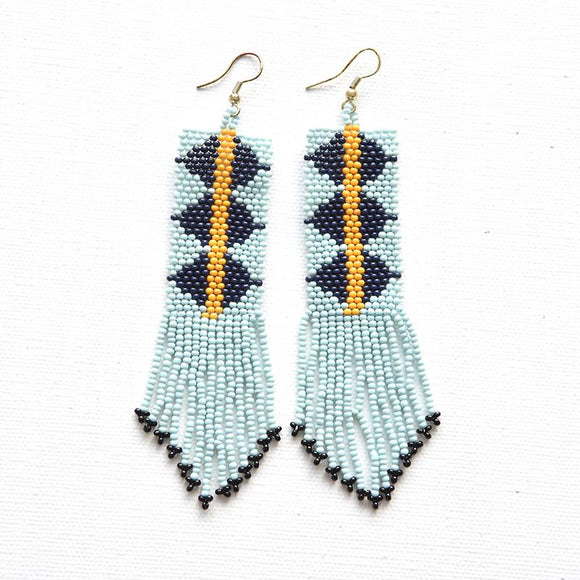 INk + Alloy beaded aztec earring.-TERRA COTTA BOUTIQUE