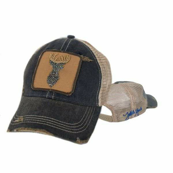 Denim, Rhinestone Embellished Deer Head, Ball Cap.-Accessories-TERRA COTTA BOUTIQUE