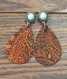 Leaf leather Earrings, Turquoise-Accessories-TERRA COTTA BOUTIQUE