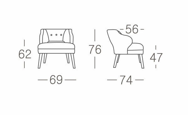 Casa occasional chair size guide