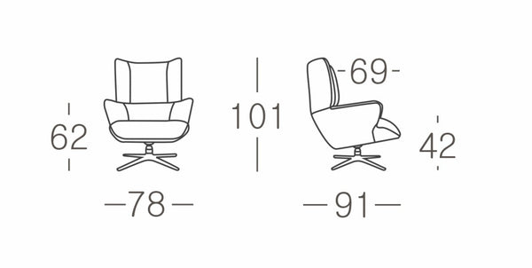 COMMODO Fabric Swivel Occasional CHAIR Size Guide