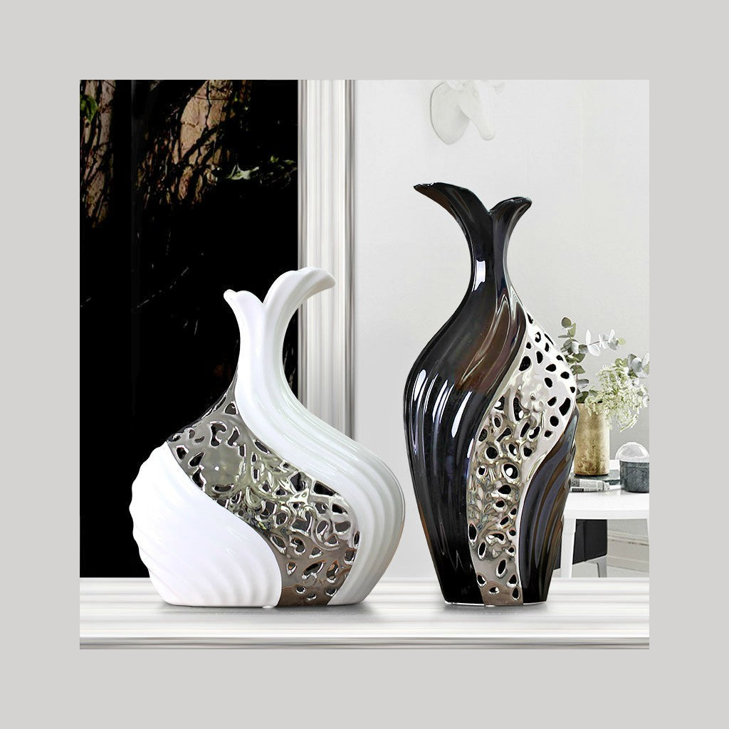 Silvered Hollow-out Ceramic Flower Vase Black & White Set - NuvoItalia