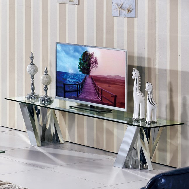 Flow Glass TV Unit by Matricks, in Silver - NuvoItalia