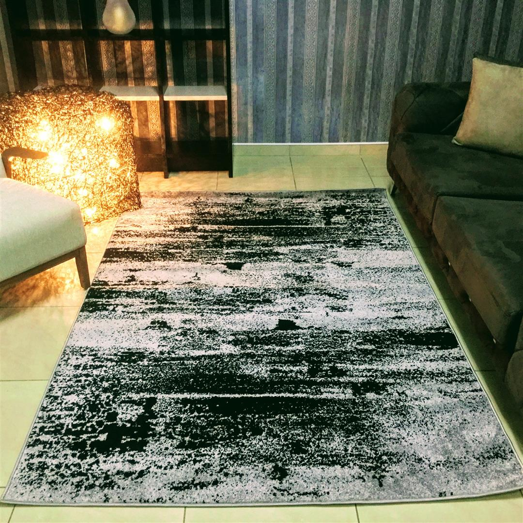 Granada Abstract Grey Area Rug, Size 2.3 x 1.6 M - NuvoItalia