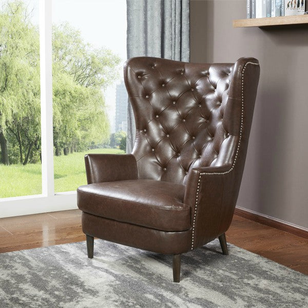 Grande Buffalo Leather Tufted Wing-Back Chair by Kuka, Antique Brown - NuvoItalia