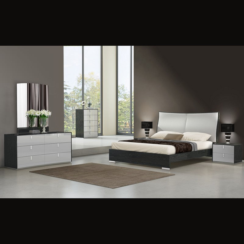 Tessa Bedroom Suite in Grey Walnut and consists of Bed, 2 Pedestals, Dresser with Drawers and Mirror.