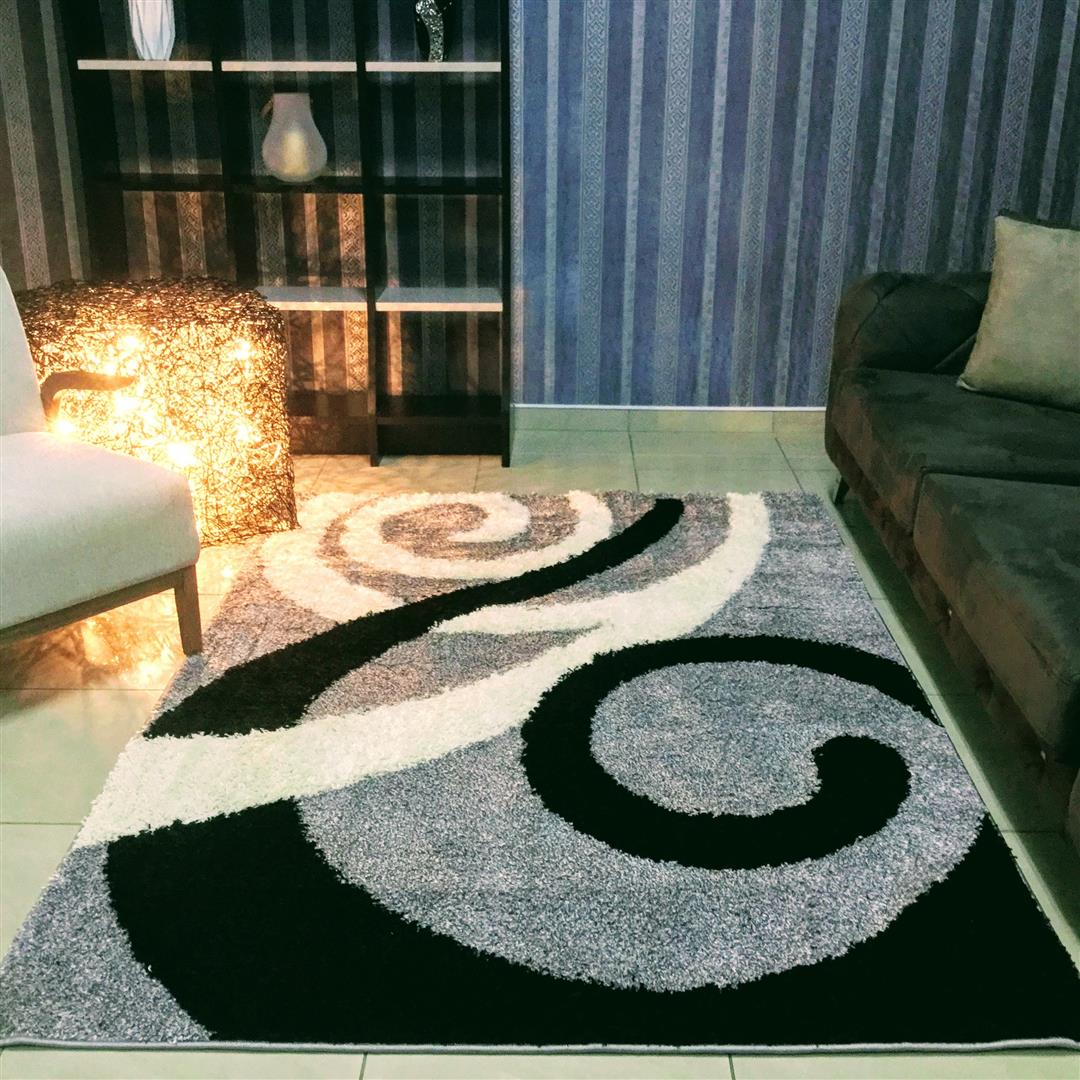 Kamden Circles Design Abstract Gray Area Rug, Size 2.3 x 1.6 M - NuvoItalia