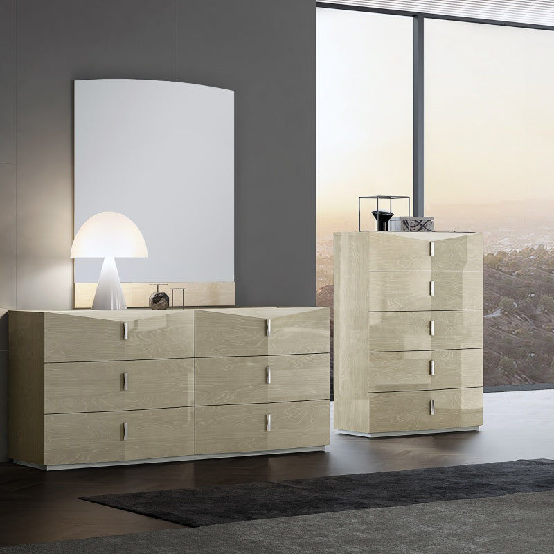 Sienna 6 Drawer Storage Dresser and Mirror by Perfect Line in Light Walnut, 2 PC - NuvoItalia