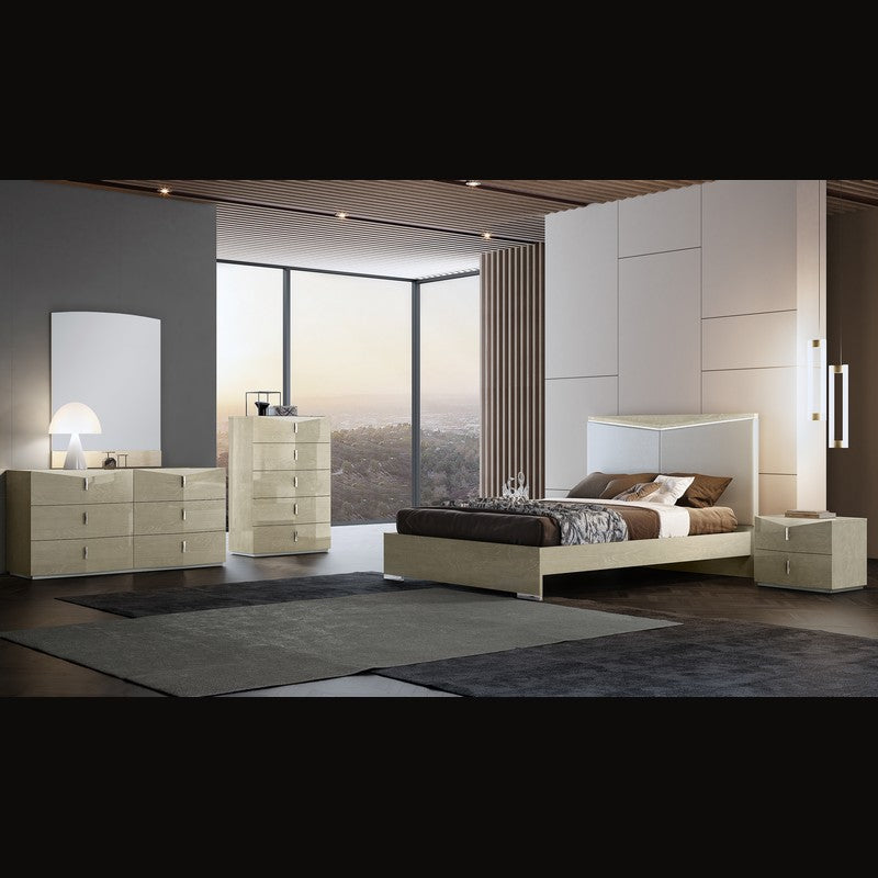 Sienna Queen Bedroom Set by Perfect Line in Light Walnut, 5 PC - NuvoItalia