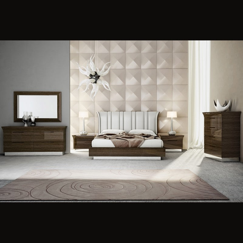 Carolina Bedroom Suite in Dark Maple and consists of Bed, 2 Pedestals, Dresser with Drawers and Mirror.