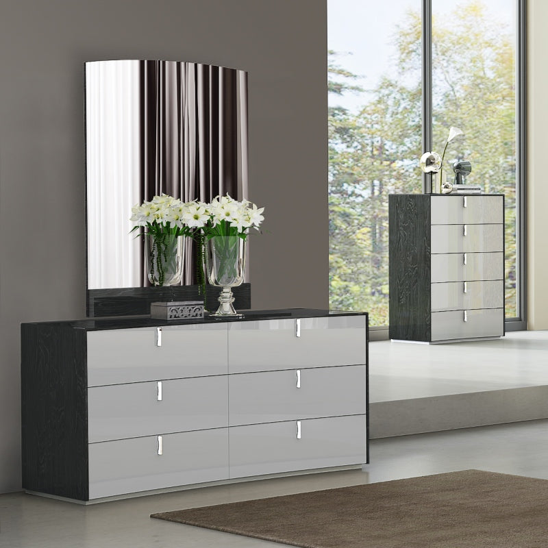 Tessa 6 Drawer Storage Dresser and Mirror by Perfect Line in Grey Walnut, 2 PC - NuvoItalia