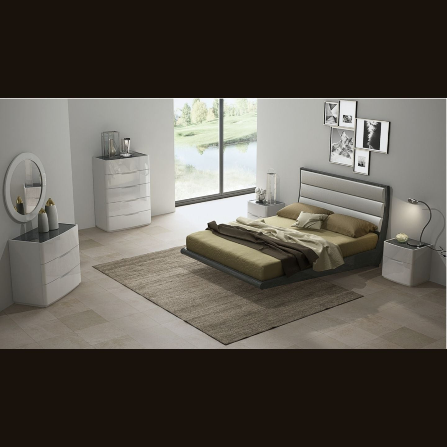 Milan Queen Bedroom Set by Perfect Line in Grey Walnut, 6 PC