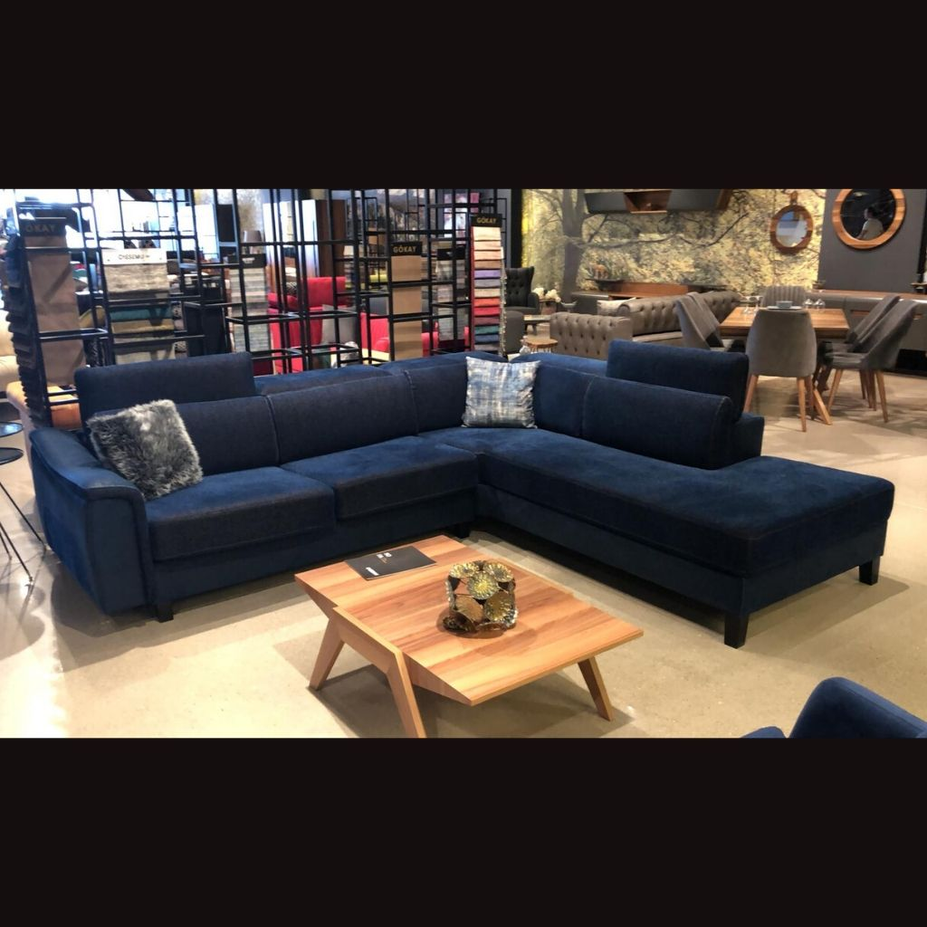 Foxc Fabric Corner Couch by Cassemu in Navy, Seats 5 - NuvoItalia