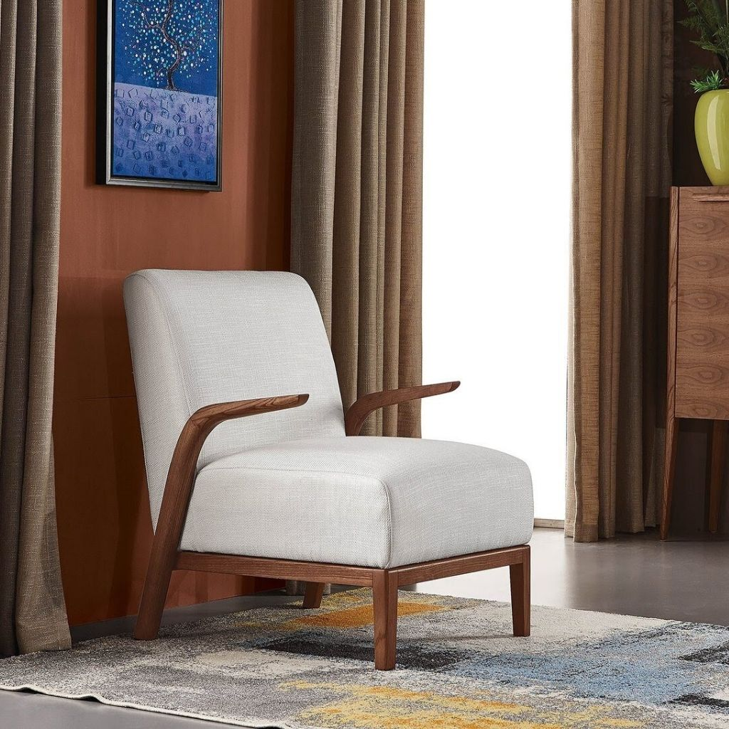 Murano Fabric Occasional Arm-Chair by Sunwings in American Ash-Wood, 4 Colors - NuvoItalia