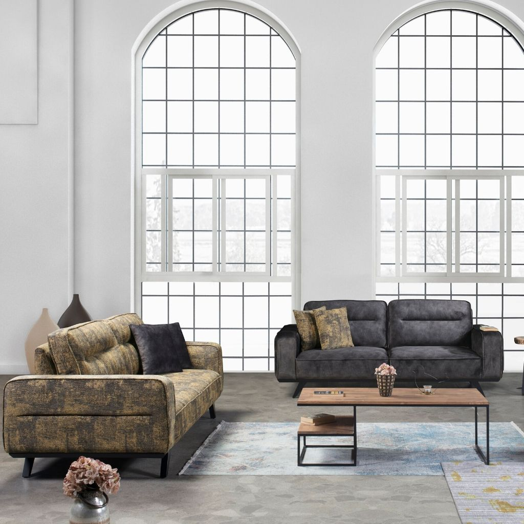 Venedik Fabric 3311 Sofa Set by Cassemu in Coffee and Cream, Seats 8 - NuvoItalia