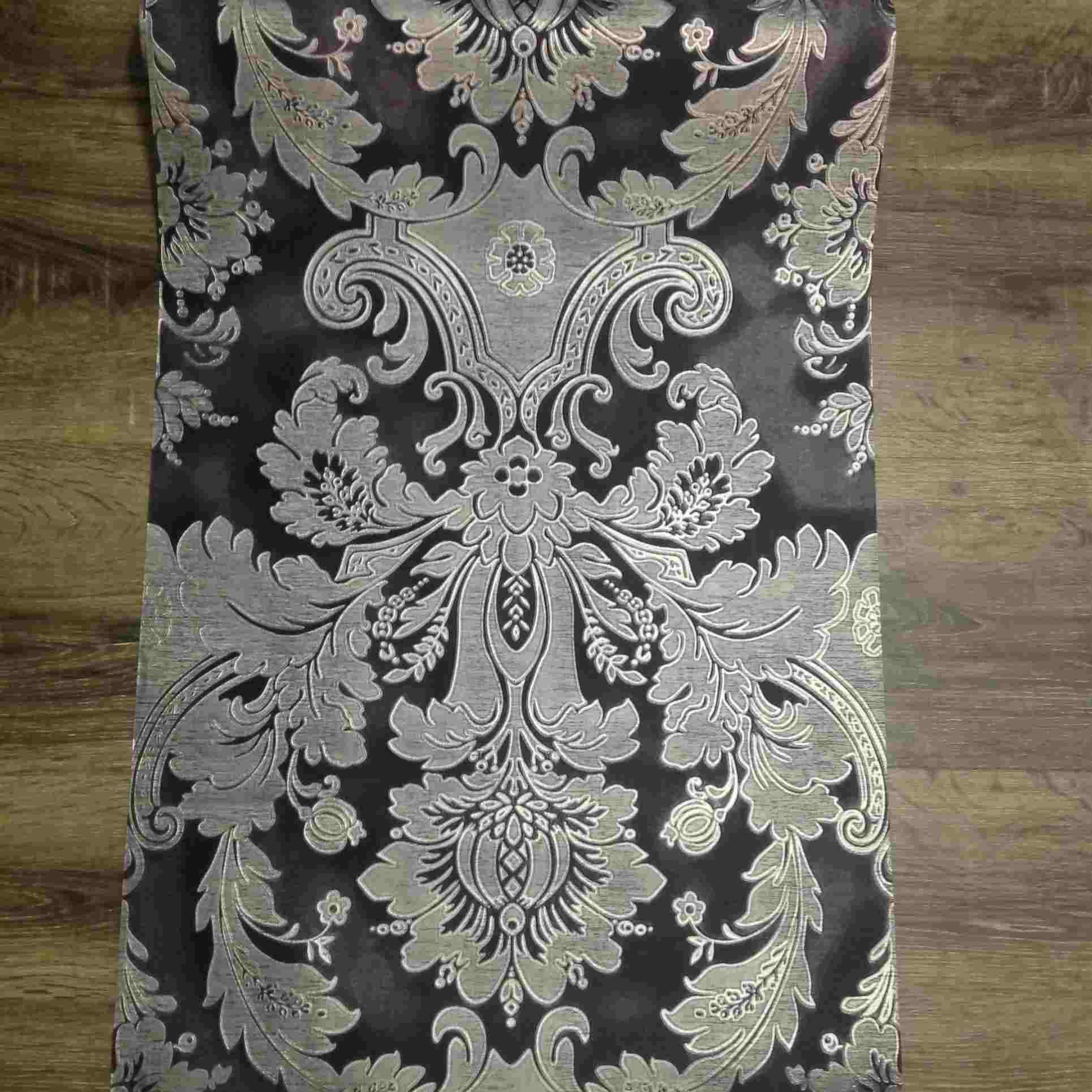 Black-Silver-Embossed-Wallpaper-Vintage-Design