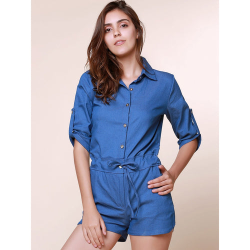 8ee0b2ecf4 Cute Shirt Collar Short-Sleeve-Jeans Rompers - shopylara