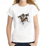 Cute 3D Cat T Shirt-Short Sleeve White - shopylara