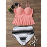 High Waisted Striped Tankini Set - Orangepink - shopylara