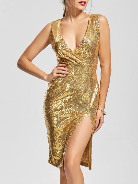Scene-Stealing Midi Dress - Gold - shopylara