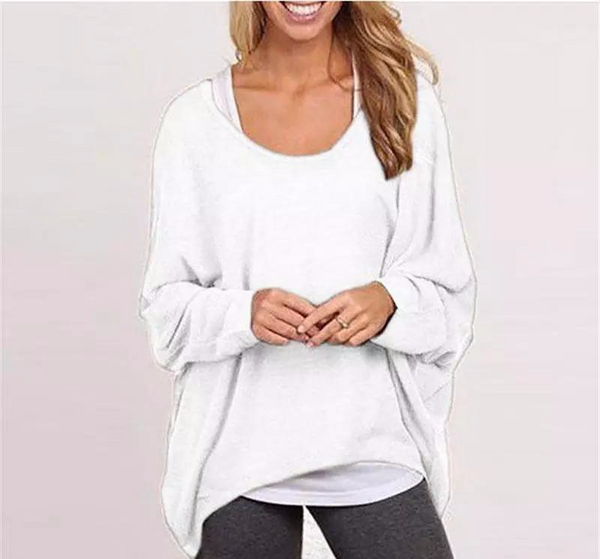 Casual Loose Solid Top Shirt Sweater - shopylara