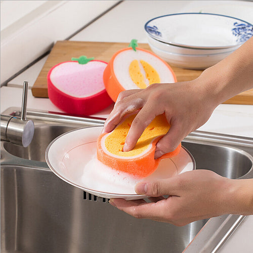 Stylish 2pcs Magic Dish Towel Fruit Shape Sponge - shopylara