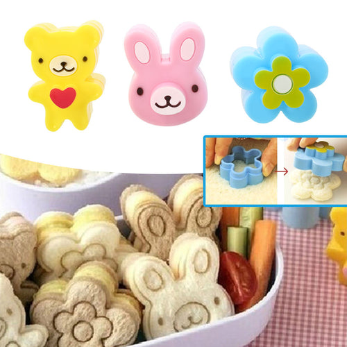 3Pcs/Set Sandwich Toast Crust Cookie Cutter Bread Mold Cake Biscuit Maker Tools