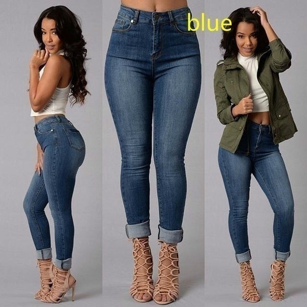 Ripped Denim High Waist Pencil Jeans-Blue - shopylara