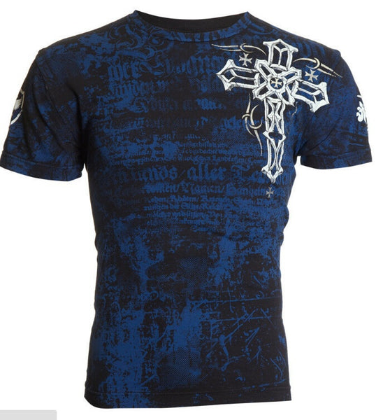 Fashion Men Cross Wings Tattoo T-Shirt - shopylara