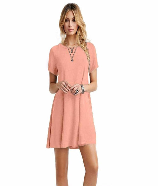 Plus Size Short Sleeve Mini Dress-Peach - shopylara