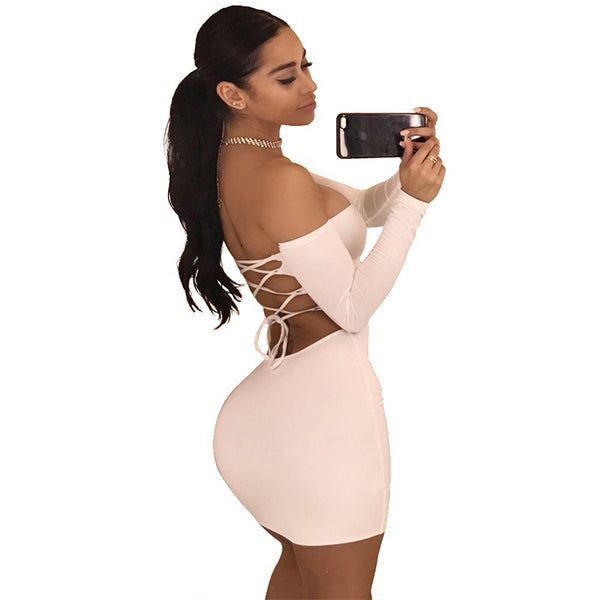 Back Cross Off Shoulder Mini Dress - shopylara