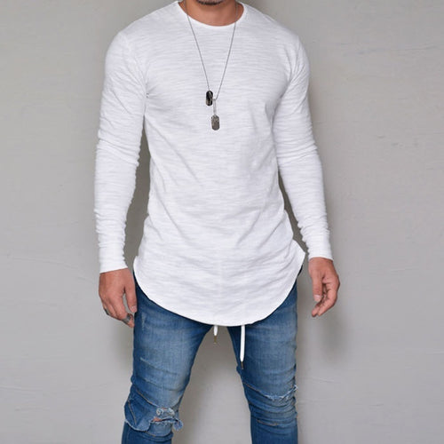 Men Casual Long Sleeves Round Neck Plus Size Tops T-Shirts - shopylara