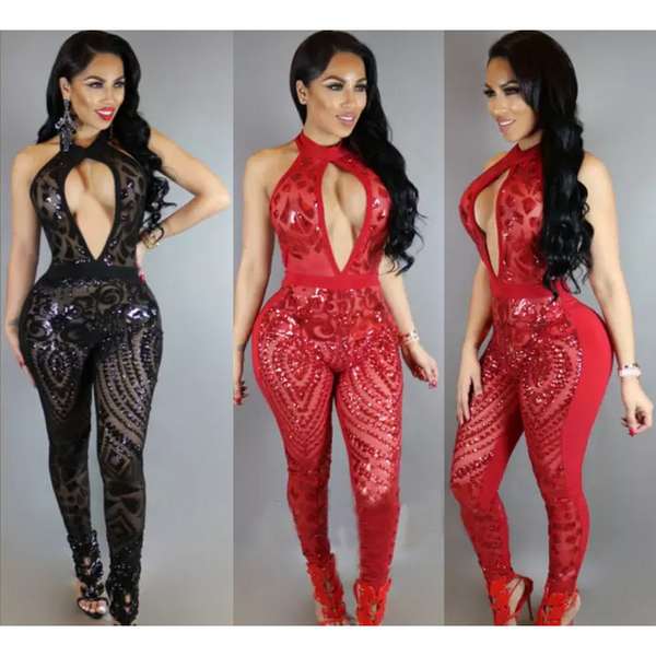 Statement Making Diamonds Club Bodycon Jumpsuits - shopylara