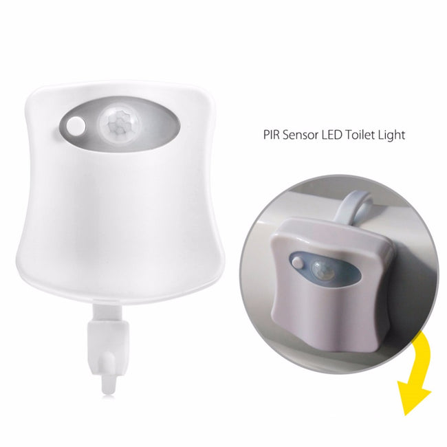 Body Sensing Automatic LED Toilet Night Light, LED Sensor Motion Activated Toilet Light Battery-Operated,8 Colors Changing Night Light Toilet Bowl Light
