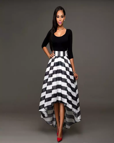 Elegant Striped Ankle Length Dress-Black - shopylara