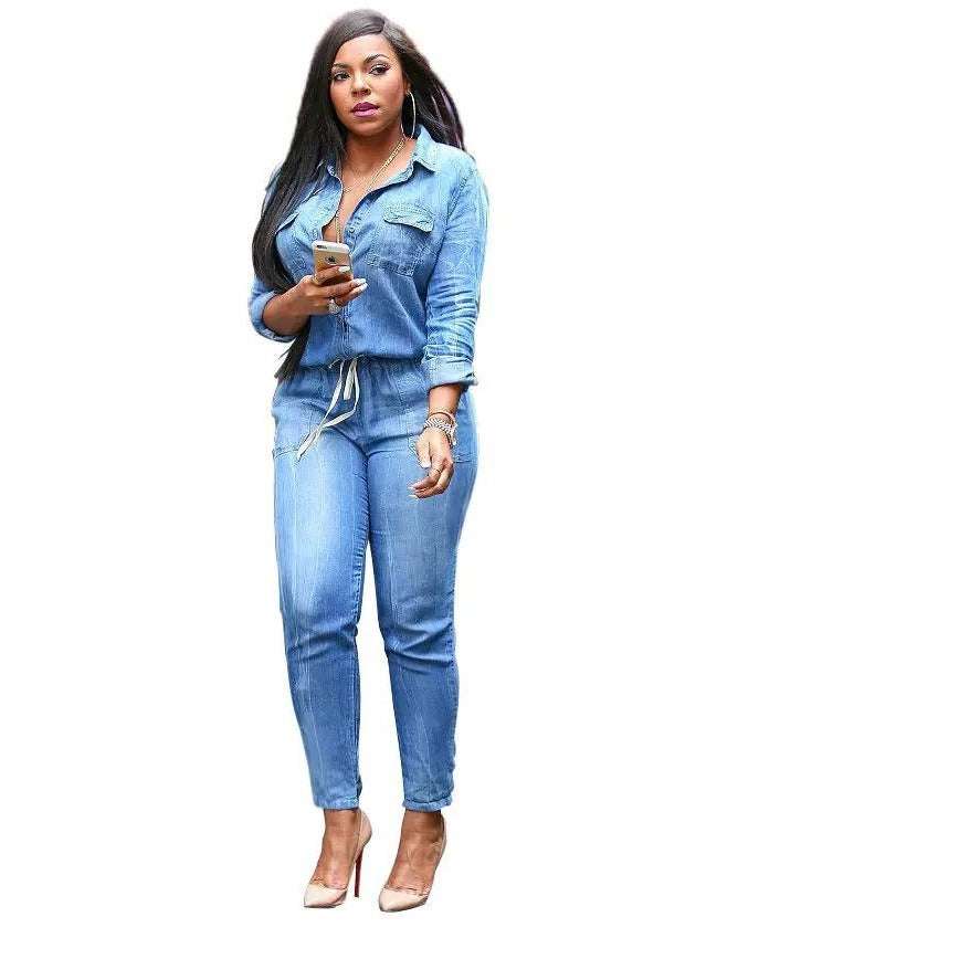 305fdfdac7 Fashion Bandage Denim Jumpsuit-Blue – shopylara