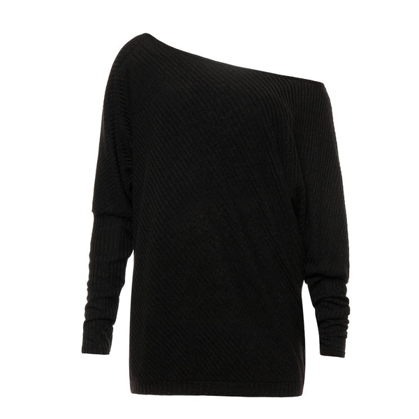 Long Sleeve Sweaters-Black - shopylara