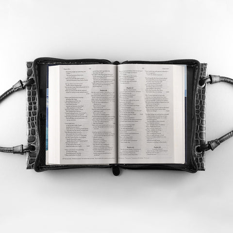 Croc Purse-Style Black Metallic Bible Cover