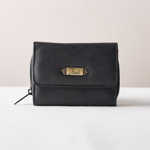 Wallet with Faith Badge Black