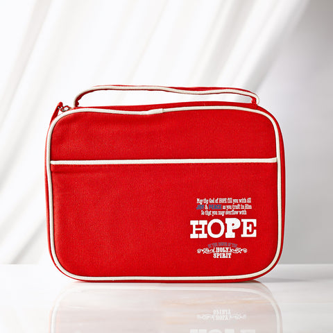Hope Romans 15:13 Retro Blessings Red Bible Cover