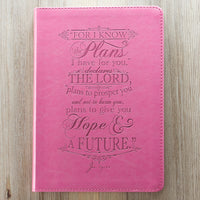I Know The Plans I Have For You Jeremiah 29:11 Pink LuxLeather Journal