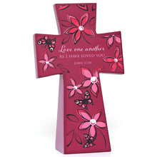 Love One Another (Purple Floral) Lacquered Wooden Cross