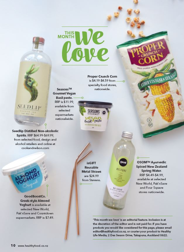 Osom water Fetured in this months Healthy Food Guide.