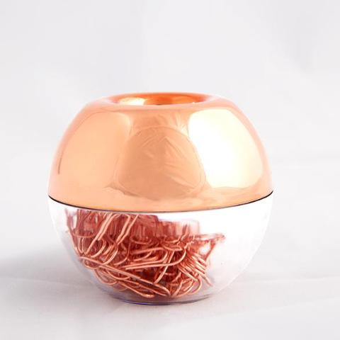 Rose Gold Paper Clip Holder With Magnetic Strip - A Office Decor by Independent She
