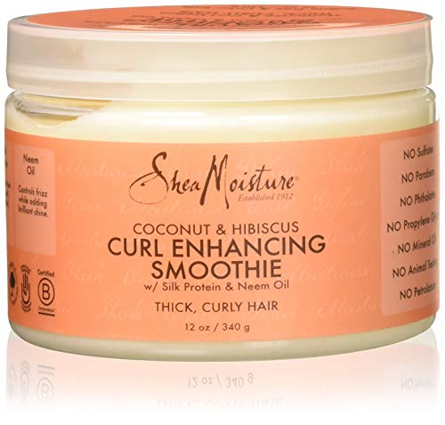 SheaMoisture Coconut and Hibiscus Curl Enhancing Smoothie, 12 oz - Jamaican Black Castor Oil & Hair Repair