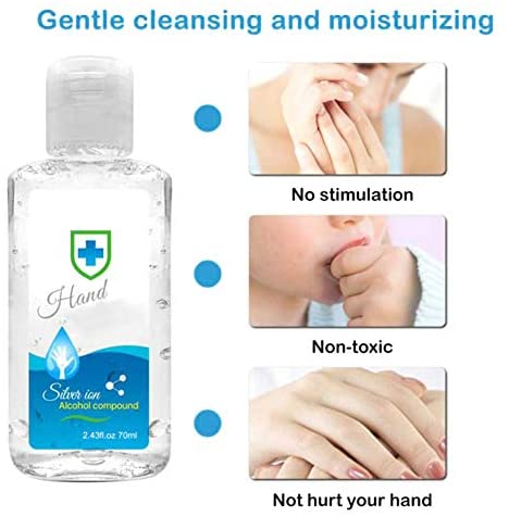 Portonss 70ML Waterless Hand Wash Gel Portable Hand Cleaning for Kitchen Bathroom Office Traveling
