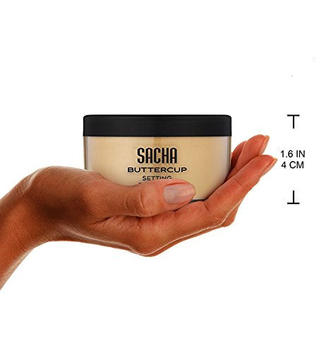 Sacha Buttercup Setting Powder. No Ashy Flashback. Blurs Fine Lines and Pores. Loose, Translucent Face Powder to set any Makeup Foundation or Concealer. For Medium to Dark Skin Tones, 1.25 oz.