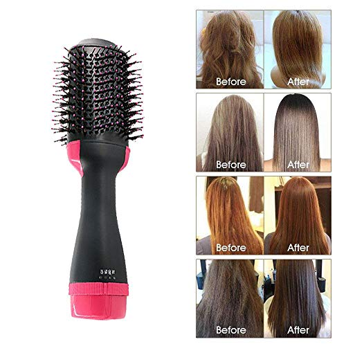 One Step Hair Dryer and Volumizer, Ionic Hair Straightener Hot Air Brush Fab Hair One Step Electric Salon Negative Ion Curly Hair Comb with Heat Resistant Glove - Jamaican Black Castor Oil & Hair Repair