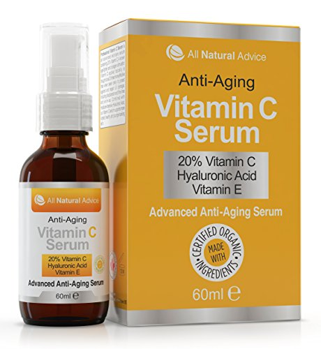 20% Vitamin C Serum - 60 ml - Made in Canada - Certified Organic + 11% Hyaluronic Acid + Vitamin E Moisturizer + Collagen Boost - Reverse Skin Aging, Remove Sun Spots, Wrinkles and Dark Circles, Excellent for Sensitive Skin + Includes Pump & Dropper - Jamaican Black Castor Oil & Hair Repair