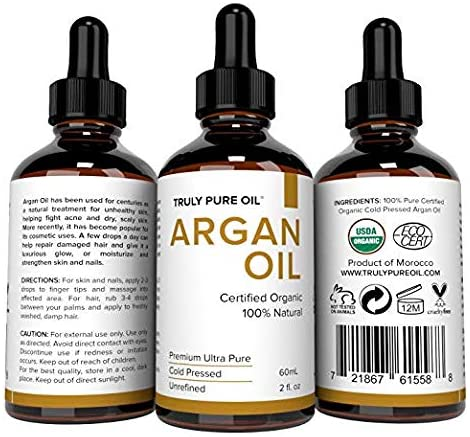 Truly Pure Oil Organic Argan Oil For Hair, Skin, Face and Nails, 100% Natural Argan, Cold Pressed, Unrefined, Eco & USDA Certified, Moroccan Anti-Aging Moisturizer, Anti-Wrinkle, Beauty Secret (2oz)